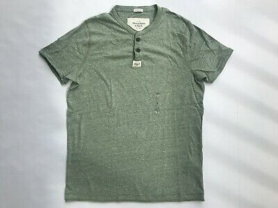 NWT Abercrombie & Fitch Men's Henley T-Shirt Short Sleeve Muscle Grey Size M