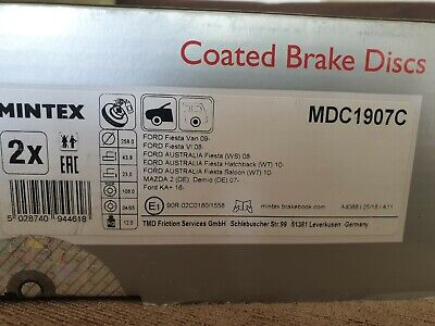 MINTEX MDC1907C BRAKE DISC Front Ford Fiesta, KA, Mazda 2