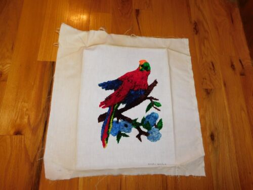 Parrot Latch Hook Panel Artist Signed Handmade COMPLETED