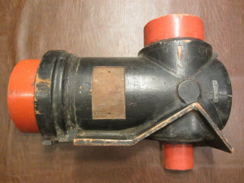 OLD INDUSTRIAL ART WOOD VALVE MOLD FOUNDRY PATTERN STEAMPUNK FACTORY DECOR # 1