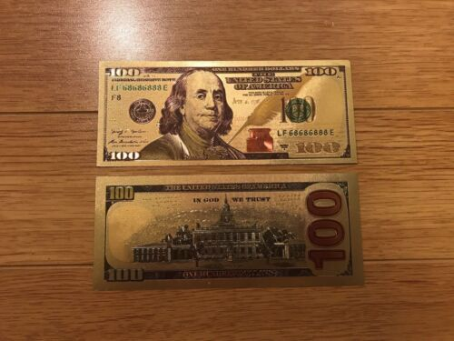 LOWEST PRICE $100 BILL GOLD FOILED BANKNOTE MONEY VERY REALISTIC LOOKING GIFT