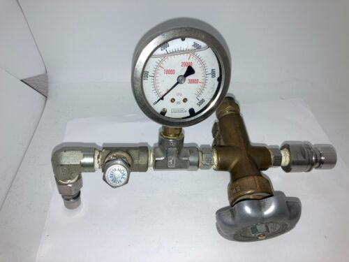 CNG Manual Valve Assembly w Pressure Gage, Bleed Valve & NGV1 Receptacle