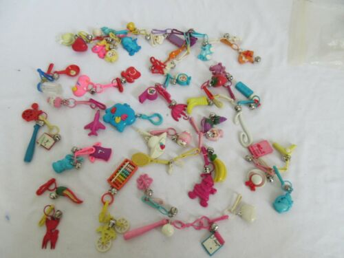 VINTAGE 80s PLASTIC BELL CLIP CHARMS For Necklace RETRO Lot of 50  +