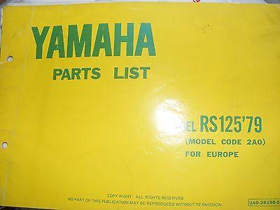 YAMAHA RS125 PART CATALOGUE MANUAL   MODEL CODE 2A0  (FIRST EDITION)  1979