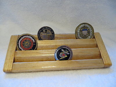 Military Challenge Coin/Chips Wood Display Holder 3 Tier->SMALL<-Oak Stained for sale  Shipping to Canada