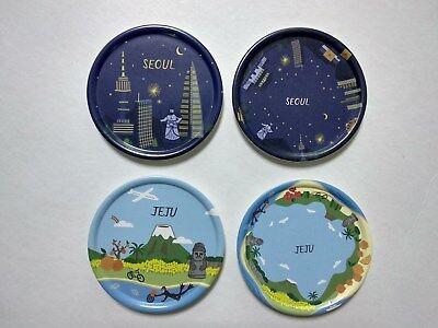 Korean Famous City SEOUL JEJU Tea Cup Coaster 4Pcs Coffee Drink Tray Holder Mat