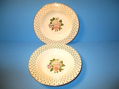 2 Gold Homer Laughlin Semi Vitreous Soup Cereal Bowls Imperial Cavalier Flowers