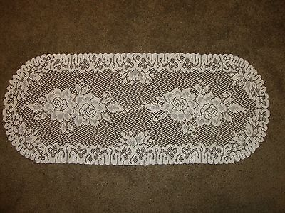 Ivory Table Runner (Lace Table Runner lace  Roses design)