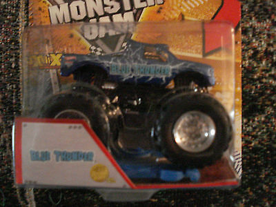 2013 Monster Jam Truck  1St Edition Blue Thunder  New Deco With Crushable Car
