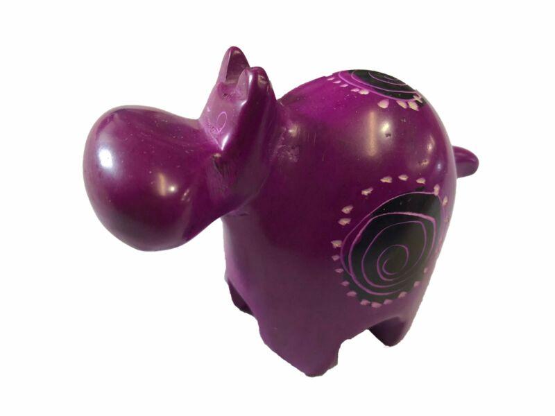 Handcrafted Soapstone Hippo - Zawadee - Pink