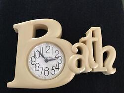 Vtg Bath Spelled Out Plastic Wall Clock Beige/Tan by New Haven Quartz 2654