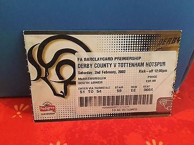 Football Ticket -  Derby County VS Tottenham Hotspur - 2002