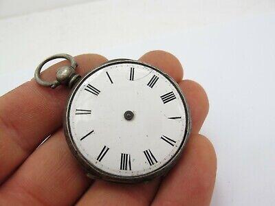 Vintage Antique Sterling Silver Key Wind Open Face Pocket Fob Watch