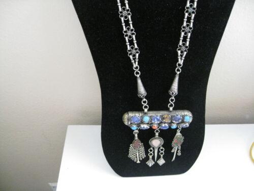 Older Vintage Middle Eastern Tribal Silver Tone Glass Huge Statement Necklace
