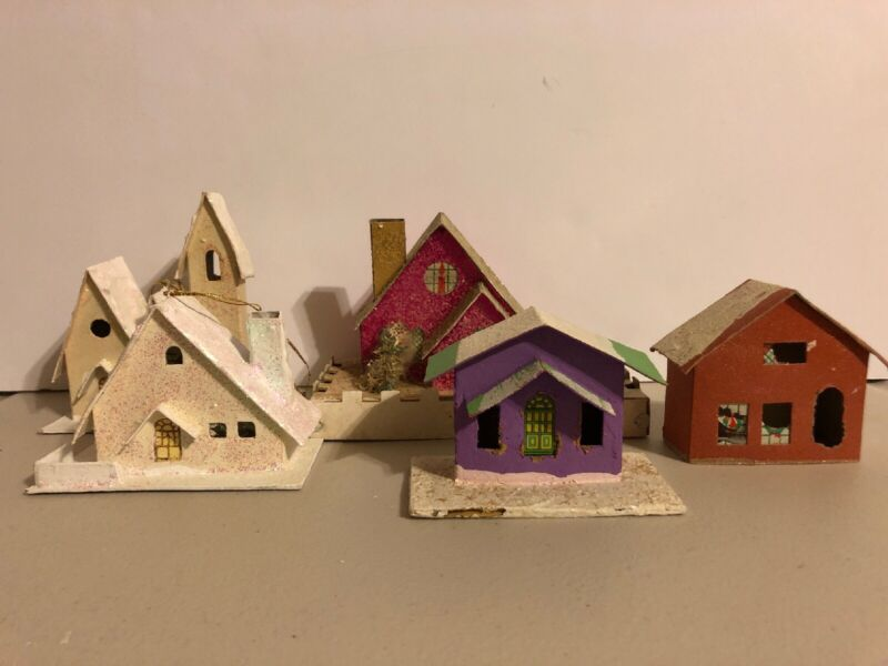 Vintage Cardboard Christmas Houses w/ Glitter Putz? Lot of 5 Holiday Decoration