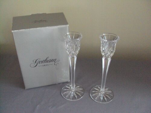 """GORHAM LADY ANNE CRYSTAL CANDLESTICK HOLDERS 8"""" NEW IN BOX NIB CANDLE HOLDER"""