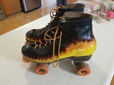 RIEDELL Fire Riddell SURE GRIP SUPER X 8R ROLLER SKATES Sz MENS 10 Hand Painted?