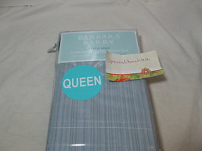 - New Barbara Barry SUBTLE STRIE - Denim Standard/Queen Pillowcase Pair ~ Blue