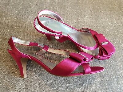 Pink Satin Heels (M&S size 5 (38) pink satin slingback bow from diamante slim heel sandals)