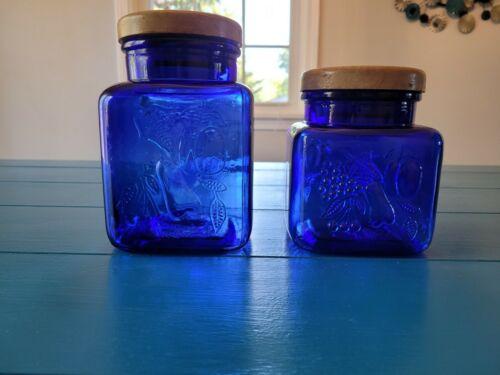 Cobalt Blue Glass Canister Cookie Jar Embossed Fruit Wood Lid Set of 2