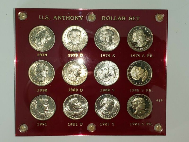 Susan B Anthony Dollar Set 12 Coins P D S & Proofs Uncirculated 1979 1980 1981