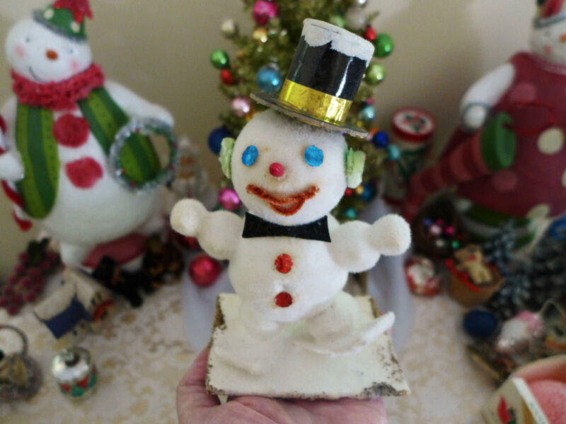 Antique Paper Mache Cotton Snowman skis Japan IOB Top Hat Chenille Figure Vtg