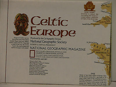 Vintage 1977 National Geographic Map of Celtic Europe w/Descriptive Notes