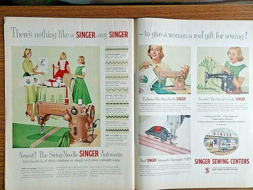 1955 Vintage Singer Sewing Machine Ad Swings Slant Automatic Straight Needle