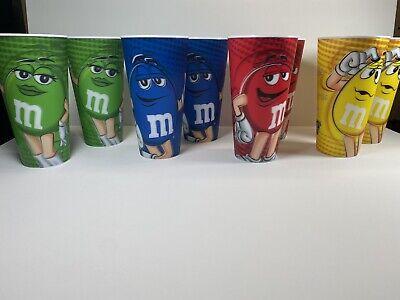 M&M's World Characters 24oz Cup Set of 8 - Excellent Condition!