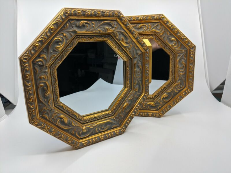 """Beautiful Pair 10"""" Accent Octagon MIRRORS Ornate Gold Wood Felt Backed FRAME"""