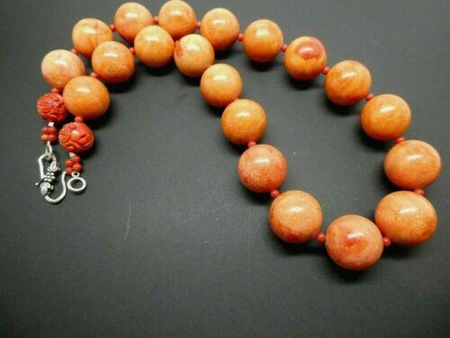 "Vintage Red Sponge Coral 20mm Round Carved Shou Beads  Sterling Necklace 21"""
