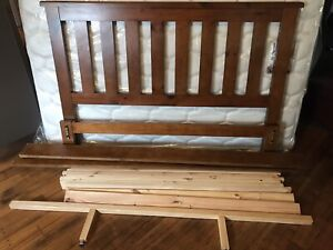 Baltic Pine Wooden Queen Bed with mattress