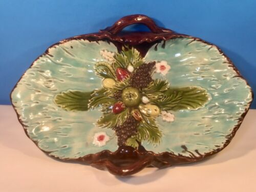 Antique Majolica Fruit Basket Platter Tray c.1800's