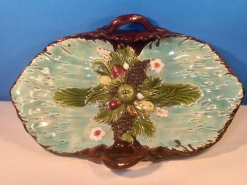 Antique Majolica Fruit Basket Platter Tray c.1800's, fm1251