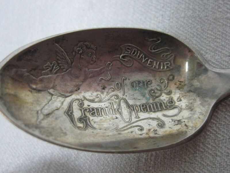 "ANTIQUE NORMAN MFG CO ""SOUVENIR OF OUR GRAND OPENING"" SILVERPLATE SOUVENIR SPOON"