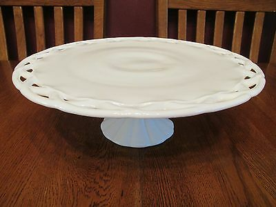 Beautiful Vintage Colony Milk Glass Open Lace Crochet Edge Footed Cake Stand