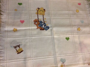 Care Bears Cross Stitched Baby Blanket