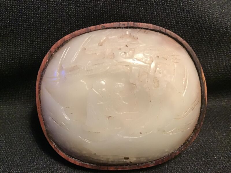 """ANTIQUE CARVED CHINESE JADE HAND MIRROR 3 1/4"""""""