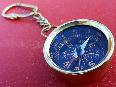Brass Compass Keychain Marine Nautical Key Ring Bulk Wholesale Lot of 100 Pcs