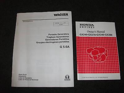 Wacker G 5.6a Portable Generators Parts Manual