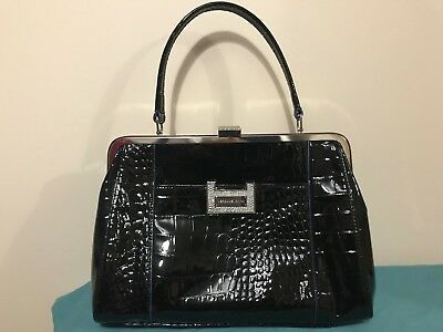 Versace Jeans Patent Black Faux Leather Handbag, Medium Sized
