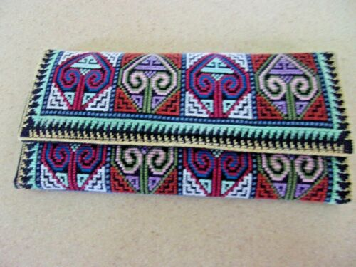 """NEW Hmong Cross Stitch Embroidered fold wallet Handmade Geometric snap 7.5"""""""