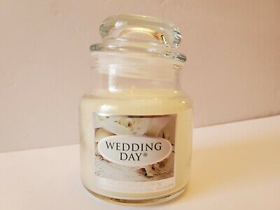 Yankee Candle Wedding Day Small Glass Jar Candle 3.7 oz White Wax Retired NEW