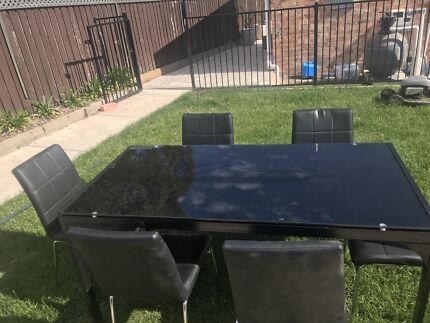Black glass table & chairs