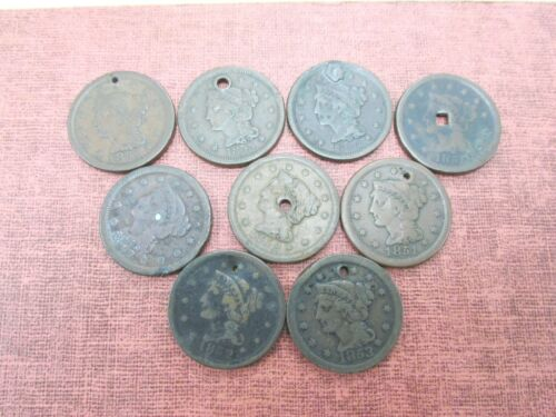 9 Coins Various Dates Cull Large Cents 1849-1855 Holed Q2G4