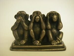 Three Wise Monkeys On A Base / Bronze Ornament Figurine