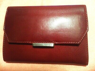 Samsonite Wallet Brown Leather Trifold Zipper Genuine New