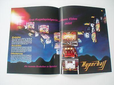 Original 4-seitiger Flyer für Hyperball Williams Flipper Pinball