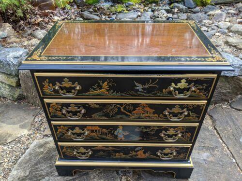 Drexel Et Cetera Asian Chinoiserie Black Lacquer 4-Drawer Cherry Chest/Dresser
