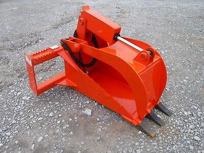 Kubota Skid Steer Attachment - Heavy Duty Stump Tooth Bucket Grapple - Ship 149